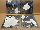 """4 pc Lot 11.5"""" x 11.5"""" Antique Ceiling Tin Metal Reclaimed Salvage Art Craft"""