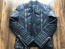 PREOWNED 100% AUTHENTIC BALMAIN MAN WAXED BLACK COTTON BIKER SIZE S