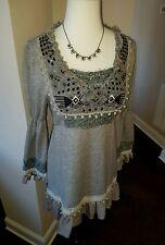 JOHN FASHION Gray Sweater Dress Wool Tunic Hippie Ruffle Boho Size Small