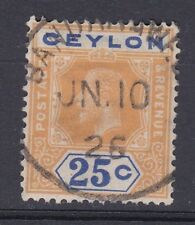 1921-32 GV CEYLON 25c GOOD USED SG351 WMK MULTI SCRIPT CA