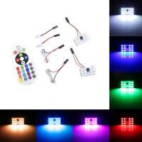 2x RGB 12SMD 5050 LED Panel Light T10 BA9S Festoon Dome Car Interior Lamp Bulb