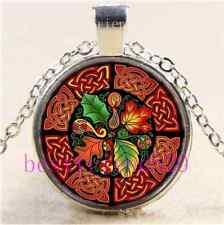 Celtic Fall Photo Cabochon Glass Tibet Silver Chain Pendant Necklace