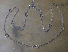 Damen Edelstahl Halskette Kette kleine Herzen Herzkette 50 cm Fb Silber 1749