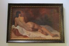 BANCHIK SIGNED FEMALE PAINTING MODEL RECLINED NUDE WOMAN  PORTRAIT VINTAGE 1970