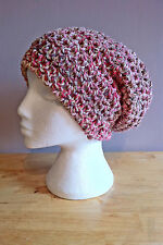 Hand Crochet Adult Chunky Pink Slouchy Beanie Hat / Wool Hat / Ski Hat / Beanie