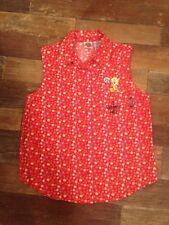 LOONEY TUNES Tweety Sleeveless Button Down Red Flowers Top Shirt Blouse Small