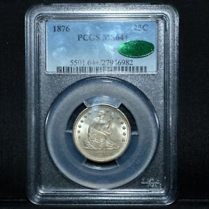 1876 SEATED LIBERTY QUARTER ✪ PCGS MS-64+ PLUS CAC ✪ 25C SILVER GEM ◢TRUSTED◣
