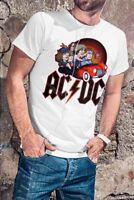 AC/DC Men White T-shirt Rock Band Fan Tee Highway To Hell Shirt