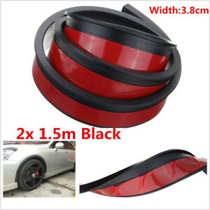 2pcs 1.5m Car Fender Flare Extension Wheel Eyebrow Moulding Trim Protector Strip