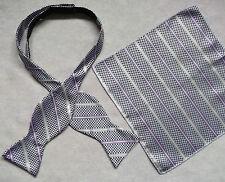NUOVA linea uomo Self Cravatta DICKIE BOW VIOLA B&W controllo comando modifica A Righe & TOP Tasca Hankie