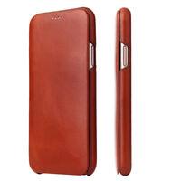 Fierre Shann Echt Leder Slim Flip Schutz Case f iPhone 12 11 Pro X XR XS Max 678