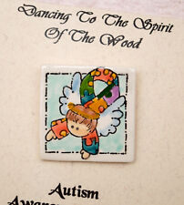 Made-in-the-USA Earthenware Pin Featuring Autism Awareness Ribbon and Angel