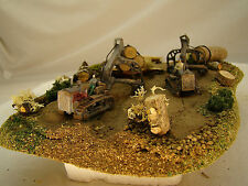 2 Logging Bulldozers - custom weathered diorama - HO scale