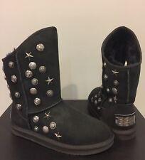 NIB Australia Luxe Angel Short Studded Sheepskin Fur Black Suede Women Boot 7(8?