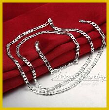 925 STERLING SILVER FILLED MENS LADY DIAMOND CUT FIGARO CURB RING CHAIN NECKLACE