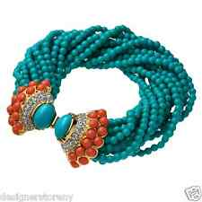 Kenneth Jay Lane 18 rows turquoise beads coral/rhinestones cabochon bracelet