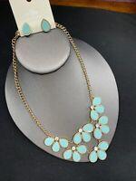 Vintage Pale turquoise NWT DaVinci gold bib  Rhinestone statement necklace Set