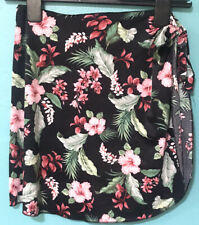 Raisins Women Black Swimsuit Cover Up Tropical Floral Tie-up Skirt One Size Pink