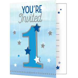 FIRST BIRTHDAY TWINKLE LITTLE STAR BLUE - INVITES - Boy Party Invites,Envelopes