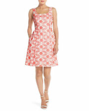 Adrianna Papell Square Neck Piping Detail Cotton Floral Eyelet Dress size 4P