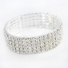 5 Row CZ White Bridal Crystal Rhinestone Stretch Tennis Bracelet Cuff Wristband