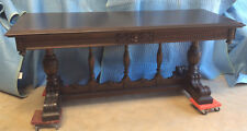 Sofa/Library/Console Table: Large, Antique: Mahogany; Two drawers; c1920s-30s