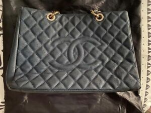 CHANEL Petite Shopping Quilted CC Logo Caviar Skin Chain Shoulder Tote Bag