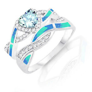 Aquamarine Heart Infinity Celtic Blue Opal w CZ Engagement Silver Ring Set