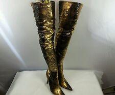 """Vintage Shiekh Thigh Boots Python Skin look 7 7 1/2"""" Stiletto heel"""