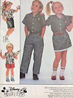 Simplicity Sewing Pattern 8464 Disney Mickey Mouse Shirt Pants Skirt Size 4 5 6