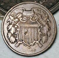 1868 Two Cent Piece 2C Higher Grade Civil War Era Good US Copper Coin CC5527