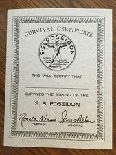The Poseidon Adventure 8X11 Survival Certificate Card Stock Replica Promotional