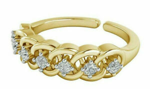 0.07 Ct Sim Diamond Intertwined Adjustable Women's Toe Ring 14K Yellow Gold Over
