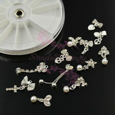 Silver Plated Dangle Style Alloy Charms Nail Art Manicure Jewelry 3D DIY Decor