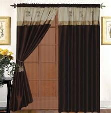 Satin Embroidery Beige Brown Window Curtain Panels Liner Tassel AT LINEN PLUS