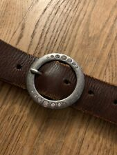 American Eagle M Leather Brown Belt Thick Burnished Silver Rhinestone Buckle
