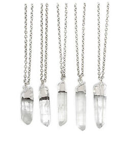 Raw Crystal Healing Quartz Necklace-Boho Vintage Silver Clear Bullet Jewellery