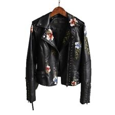 Women Floral Print Embroidery Faux Soft Leather Jacket Casual Punk Outerwear Top