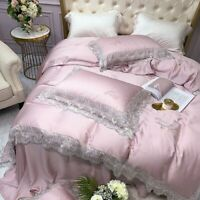 Luxury Bedding Silk Lace Flower Embroidery Tencel Duvet Cover Set Bed  Sheet