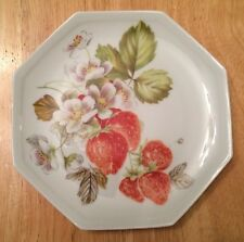 "Giraud Plate Limoges France Hand Painted Strawberries Octagonal 7"" Vintage!"