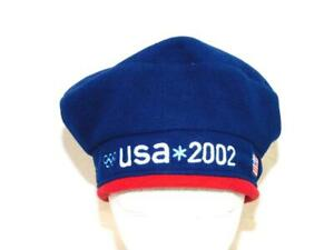 USA 2002 Olympics Blue NWT Fleece Beanie Hat Salt Lake City UT Beret Stitched