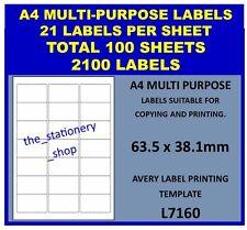 100 SHEETS A4 LASER INKJET COPIER ADDRESS LABELS - 21 PER SHEET - 2100 LABELS