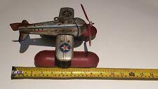 Vintage Key Wind Tin Litho Toy Airplane - J Chein