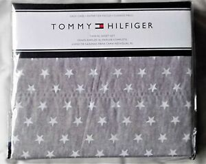 NEW Tommy Hilfiger Gray & White Dunmore Stars Chambray Twin XL Dorm Sheet Set
