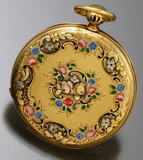 LE ROY & FILS POCKET WATCH 18K GOLD ENAMEL QUARTER-HOUR PULL,TURN&PUSH REPEATER