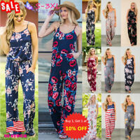 US Women Ladies Floral Summer Sleeveless Wide Leg Long Pants Trousers