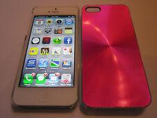 Red iPhone SE 5S 5G 5 SPIRAL Aluminum Metal Back Designer Case & Clear Sides NEW