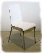 Bella White Timber & Chrome Dining Chair - BRAND NEW
