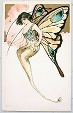 Schmucker BUTTERFLY WOMAN Detroit Pub Elusoriness Postcard Gold
