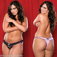 PLUS SIZE LINGERIE One Size Queen Split Thong Black or Pink  STM9149X